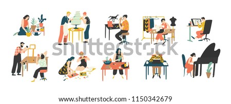Collection of people enjoying their hobbies - home gardening, culinary, sewing, drawing, paper collage making, floristics, writing, piano playing. Colorful vector illustration in flat cartoon style. #1150342679