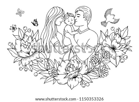 Vector illustration zentangl. Family with baby on hands among the flowers. Coloring book. Antistress for adults and children.  Black and white. #1150353326