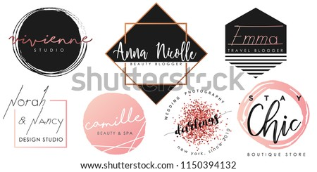 Feminine logo set in black, pink and gold Royalty-Free Stock Photo #1150394132
