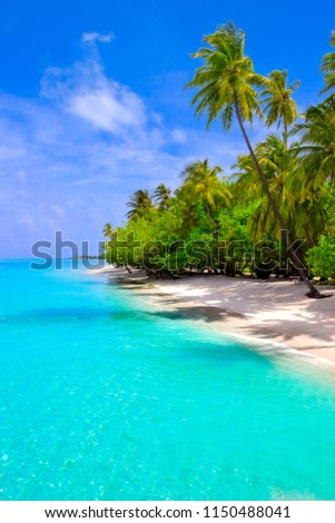 Dream beach with palm trees on white sand and turquoise ocean #1150488041