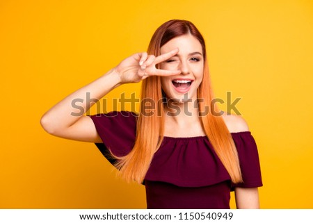 Closeup studio shooting photo portrait of chic attractive cute sweet lovely charming rejoicing delightful lady making v-sign near eyes laughing isolated bright background