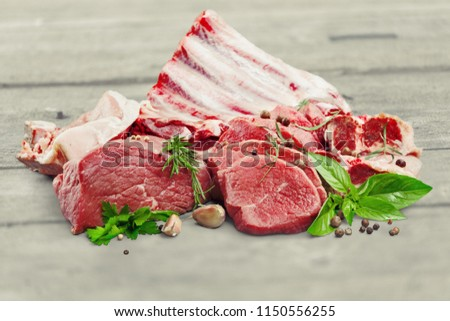 Fresh Raw Meat on desk #1150556255
