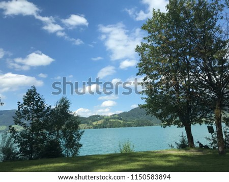Lake side view of the Wolfgangsee in Salzburg, Austria. #1150583894