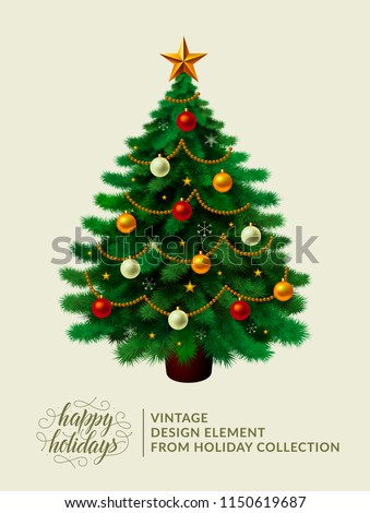 Vintage christmas tree with xmas decorations - ornaments, stars, garlands, snowflakes, lamps. Isolated. Merry Christmas and happy new year. Happy holidays text and logo. Vector illustration. EPS10