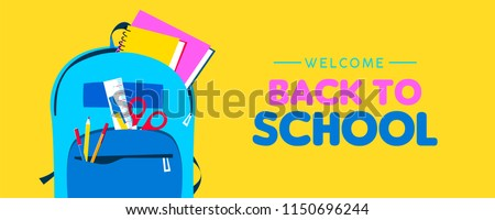 Back to school web banner, colorful kid backpack illustration. Student bag with class supplies and happy typography quote. EPS10 vector.
