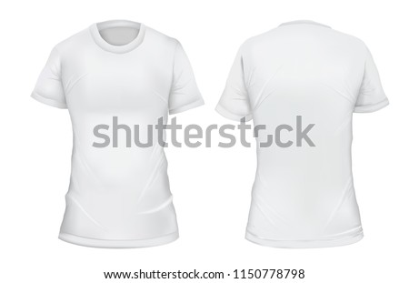 Vector illustration. Blank women's t-shirt, front and back views. Gradient mesh shirt design. Isolated on white #1150778798