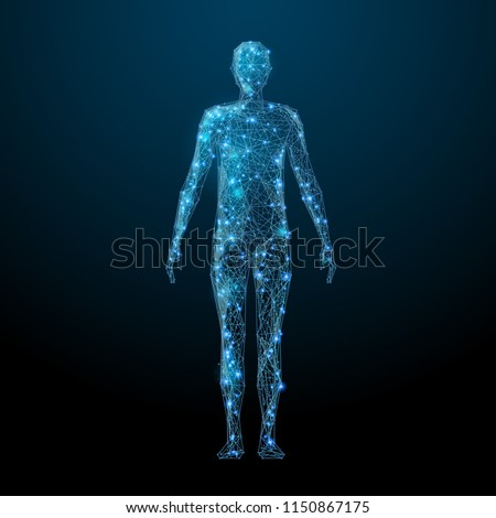 Human body low poly wireframe. Vector polygonal image in the form of a starry sky or space, consisting of points, lines, and shapes in the form of stars with destruct shapes. Royalty-Free Stock Photo #1150867175