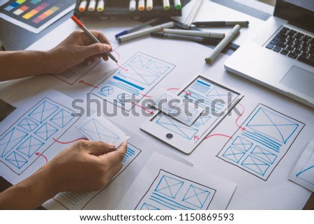 ux Graphic designer creative  sketch planning application process development prototype wireframe for web mobile phone . User experience concept. #1150869593