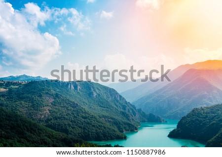 landscape photo of the river Piva in Montenegro #1150887986