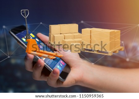 View of Pallet truck and carboxes with network connection system - 3d render #1150959365