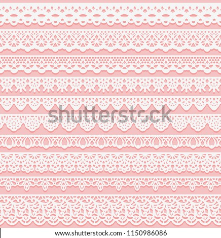 Set of horizontal seamless borders for wedding design. White lace silhouette isolated on pink background. Suitable for laser cutting. Vector illustration.