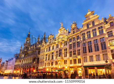 Brussels , Grand place  in summer twilight ,Belgium  #1150999016