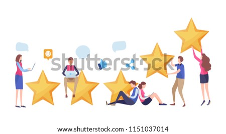 People's giving five star rating via website application. User feedback review scroll. Social media. Cartoon illustration vector graphic on white background. #1151037014