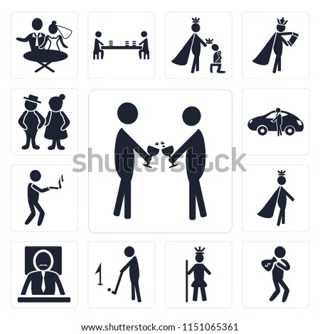 Set Of 13 simple editable icons such as Event, Rich man, Royalty, Golf, Boss, Prince, Smoking, Sport car, Old Couple, web ui icon pack #1151065361