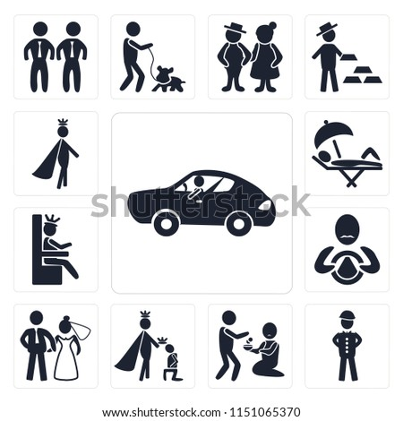 Set Of 13 simple editable icons such as Sport car, Soldier, Charity, King, Newlyweds, Driver, Queen, Holiday, Prince, web ui icon pack #1151065370