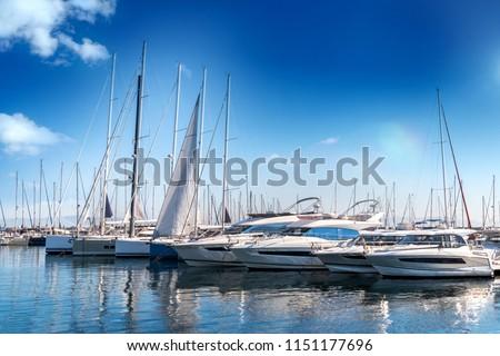 Yacht club and marina long view Royalty-Free Stock Photo #1151177696