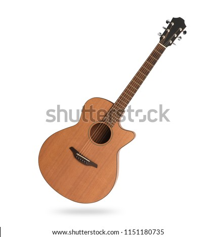 classic acoustic guitar isolated on white background with clipping path #1151180735
