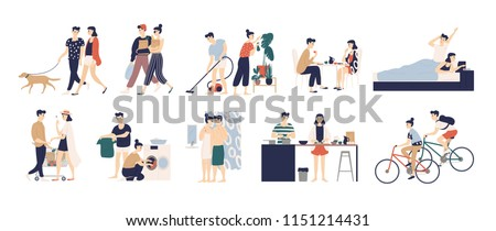 Collection of daily life or everyday routine scenes of young romantic couple. Pair of boy and girl walking dog, cleaning up house, cooking food, washing clothes, buying food. Flat vector illustration. #1151214431