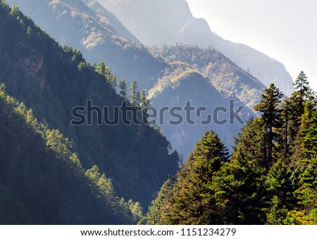 Morning view of the surrounding mountains in the Namche Bazar area - Everest region, Nepal, Himalayas #1151234279