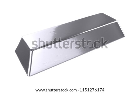 3D realistic render of silver bar isolated on white background #1151276174