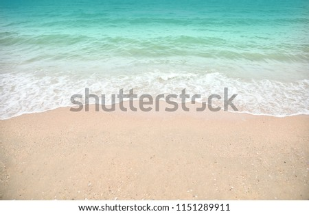 Wave and sand beach for space text or background #1151289911