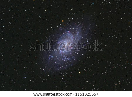 Triangulum Galaxy Galaxy M33  with Nebula ,Open Cluster,Globular Cluster, stars and space dust in the universe and Milky way taken by dedicated astrophotography camera on telescope. #1151325557