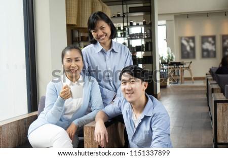 Happy senior asian family in cafe,Family Comcept #1151337899