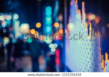 Display stock market numbers and graph on the street #1151356334