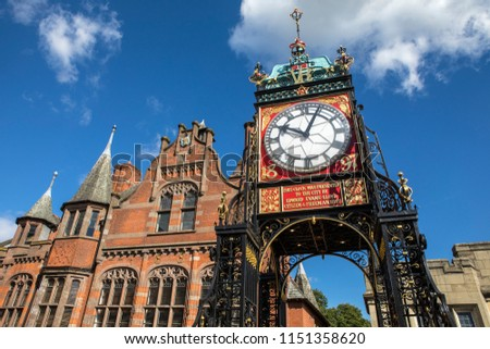 The famous Eastgate Clock, viewed from the historic city walls in the city of Chester, UK.  #1151358620
