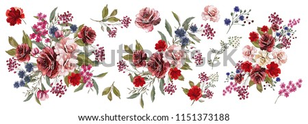 Bordeaux and pink roses, blue, red flowers. Watercolor, Botanical illustration.Flower arrangements of pink roses, colorful leaves, wild herbs. A set of bouquets, twigs, floral elements.