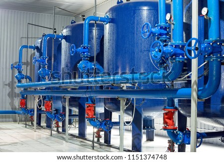 Water purification filter equipment in plant workshop #1151374748