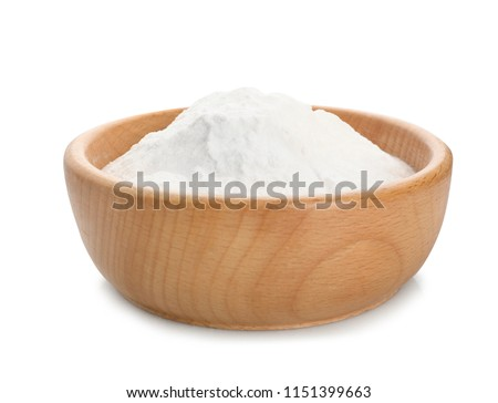 Wooden bowl with baking soda on white background #1151399663