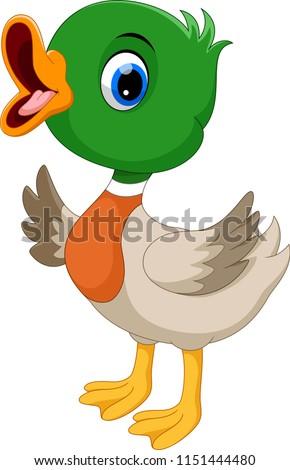 Cute baby duck waving cartoon