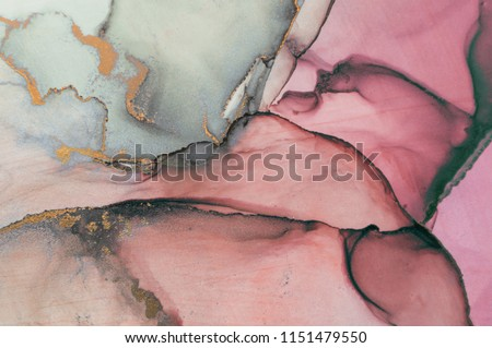Ink, paint, abstract. Closeup of the painting. Colorful abstract painting background. Highly-textured oil paint. High quality details. Alcohol ink modern abstract painting, modern contemporary art. #1151479550