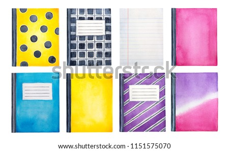 Collection of cute colorful watercolour notebooks with different patterns. Top view. Education symbol. Hand drawn water color graphic drawing on white background, cutout clip art elements for design.