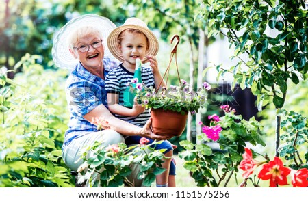 Gardening with kids. Grandmother and her grandchild enjoying in the garden with flowers. Hobbies and leisure, lifestyle, family life #1151575256