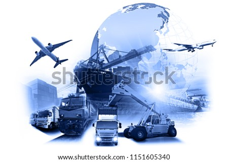 World map with logistic network distribution on background. Logistic and transport concept in front Industrial Container Cargo freight ship for Concept of fast or instant shipping, Online goods order #1151605340