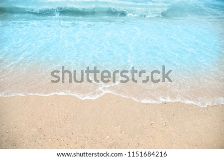 Wave and sand beach for space text or background #1151684216
