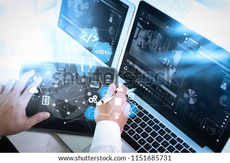 Coding software developer work with augmented reality dashboard computer icons of scrum agile development and code fork and versioning with responsive cybersecurity.Medical network technology concept #1151685731