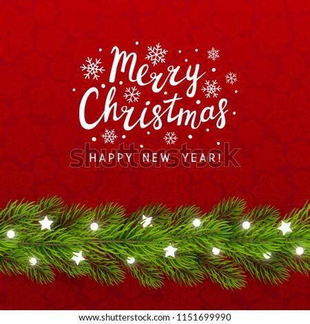 Greeting card with Christmas tree border #1151699990