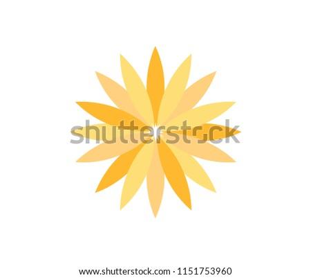 pretty yellow flower theme concept vector logo design template #1151753960