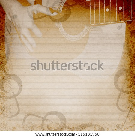 background with playing guitar and musical notes