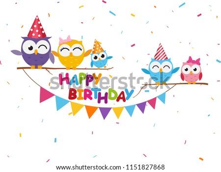 Happy birthday celebration with cute owl  #1151827868