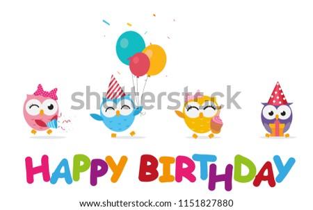 Happy birthday celebration with cute owl  #1151827880