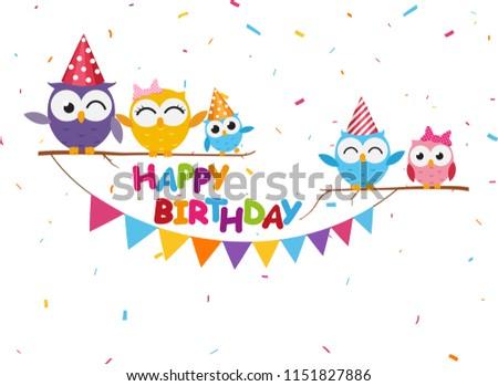 Happy birthday celebration with cute owl  #1151827886