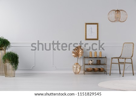 Real photo of living room interior with fresh plants, poster on wall, gold chair and small rack with decor and candles #1151829545