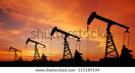 Oil pump oil rig energy industrial machine for petroleum in the sunset background for design #115189144