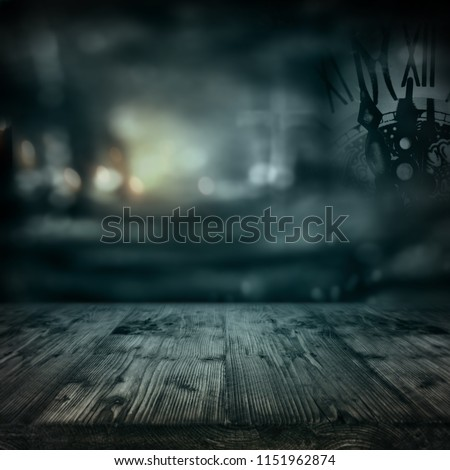 Creepy background to the ghost hour with lit old wood planks for a halloween celebration