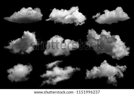 Collections of separate white clouds on a black background have real clouds. White cloud isolated on a black background realistic cloud. white fluffy cumulus cloud isolated cutout on black background #1151996237