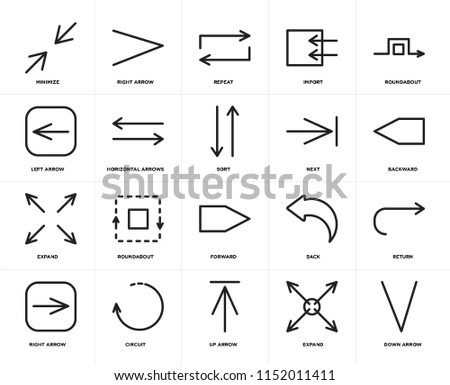 Set Of 20 icons such as Down arrow, Expand, Up Circuit, Right Roundabout, Next, Forward, Horizontal arrows, Repeat, web UI editable icon pack, pixel perfect #1152011411